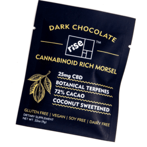 Dark Chocolate 25mg CBD Morsels by Rise Relief